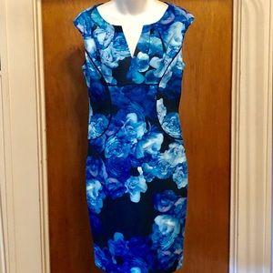 Adrianna Papell | Sleeveless Blue Rose Dress